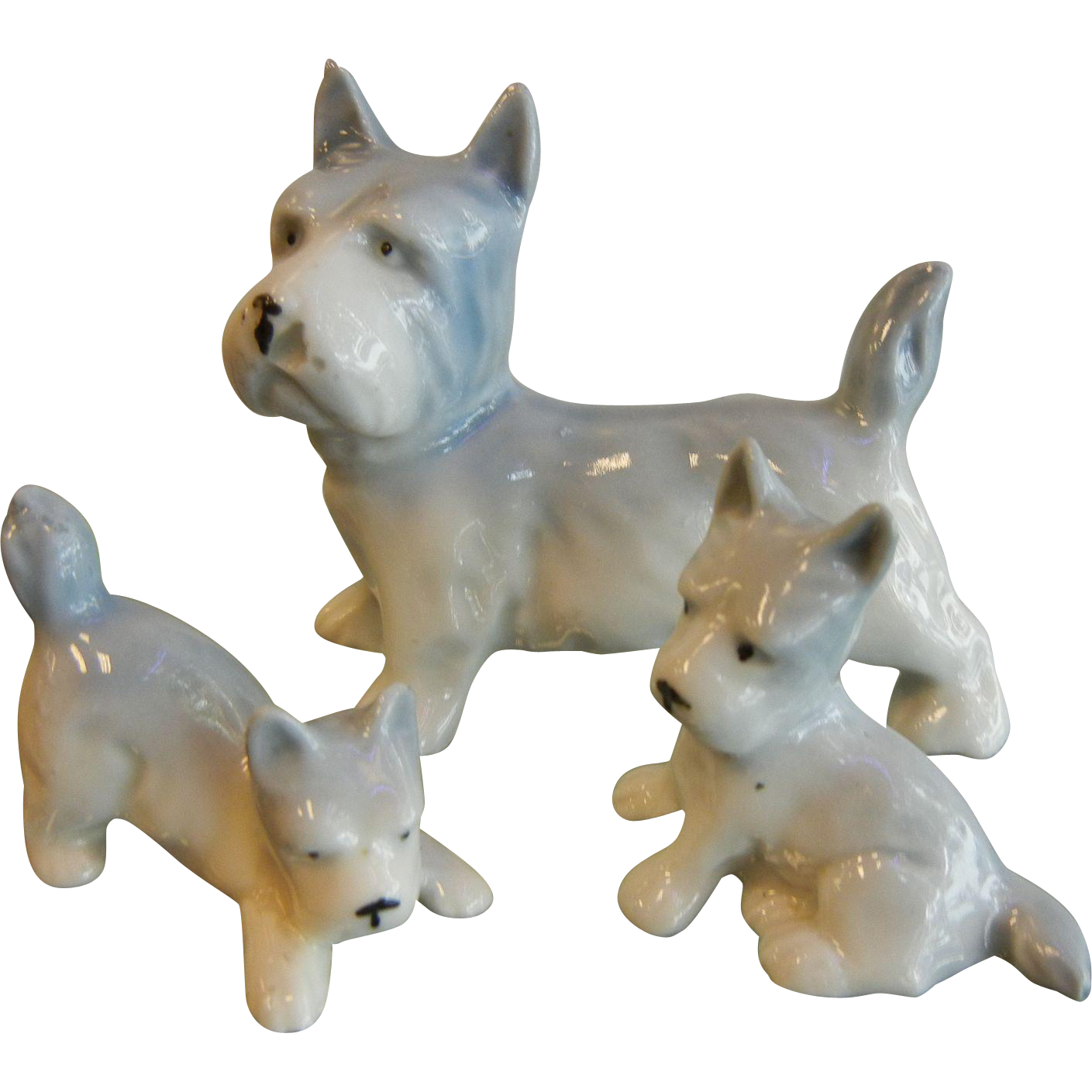 Adorable Vintage German Porcelain Figurines Trio of Terrier Dog Family