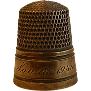 Very Fine Vintage Silver Thimble Engraved w/ Nov. 18, 1946