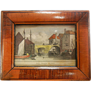 Antique Miniature Doll House Size  Framed Picture of Folly Bridge, Oxford
