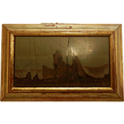 Antique Italian Pietra Dura Natural Stone Inlay Miniature Frame