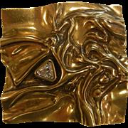 Modernist Abstract Gold-Tone Square Brooch w/ Triangular Crystal Rhinestone