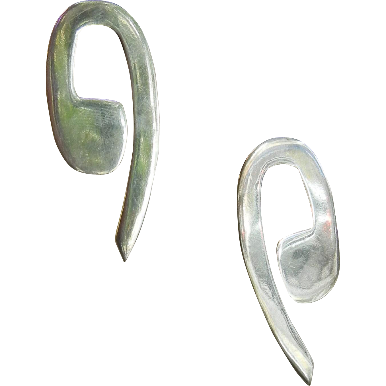 Modernist Sterling Silver Stud Earrings - Signed Mexico 925