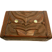 Vintage Maori Hand Carved Box w/ Abalone Details