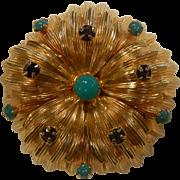 Signed WARNER New York Gold-Tone Dome Rhinestone Brooch
