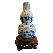 Antique Asian Blue & White Mini Guard Vase w/ Wooden Stand
