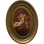 Vintage Blonde Cherub Portrait in Gilded Oval Frame by Jury-Rowe Co