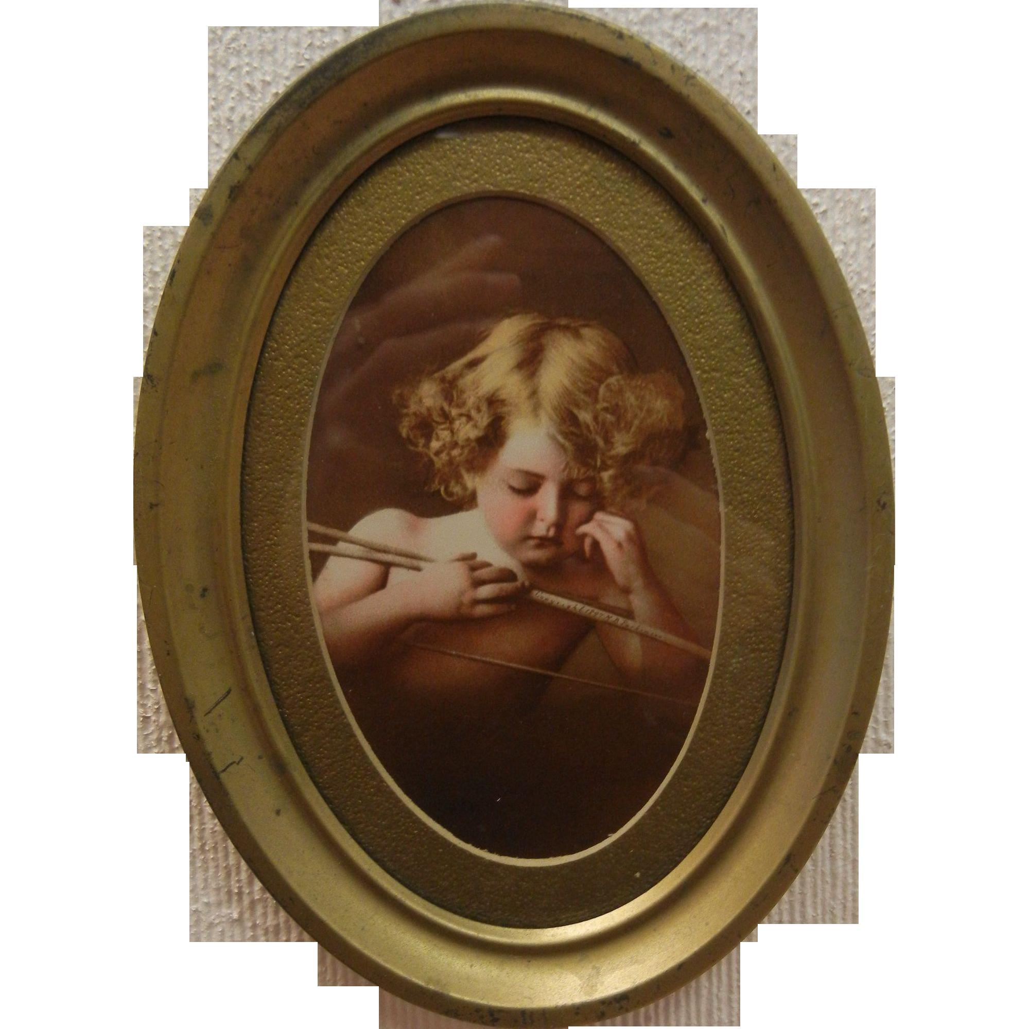 Vintage Blonde Cherub Portrait in Gilded Oval Frame by Jury-Rowe Co
