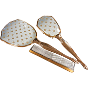 Vintage 3-Piece Dresser Vanity Set w/ Comb, Brush, Hand Mirror
