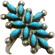 Vintage Sterling Silver Petite Point Turquoise Ring Signed Cody Sanchez '88
