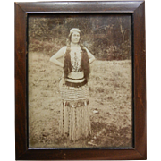 Original Vintage B&W Framed Photograph of Hoopa Tribe School Teacher