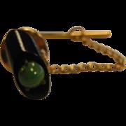 Vintage Tie Tack w/ Onyx & Jade