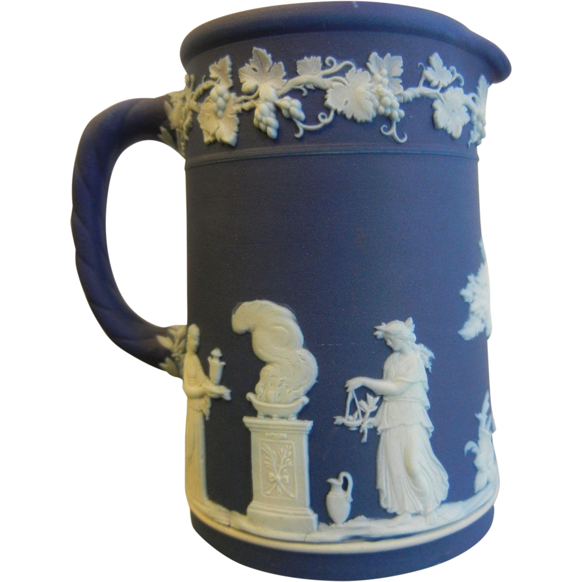 Wedgwood England Blue & White Porcelain Pitcher