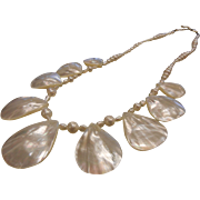 Very Fine Mother of Pearl Necklace w/ Sterling Silver Clasp