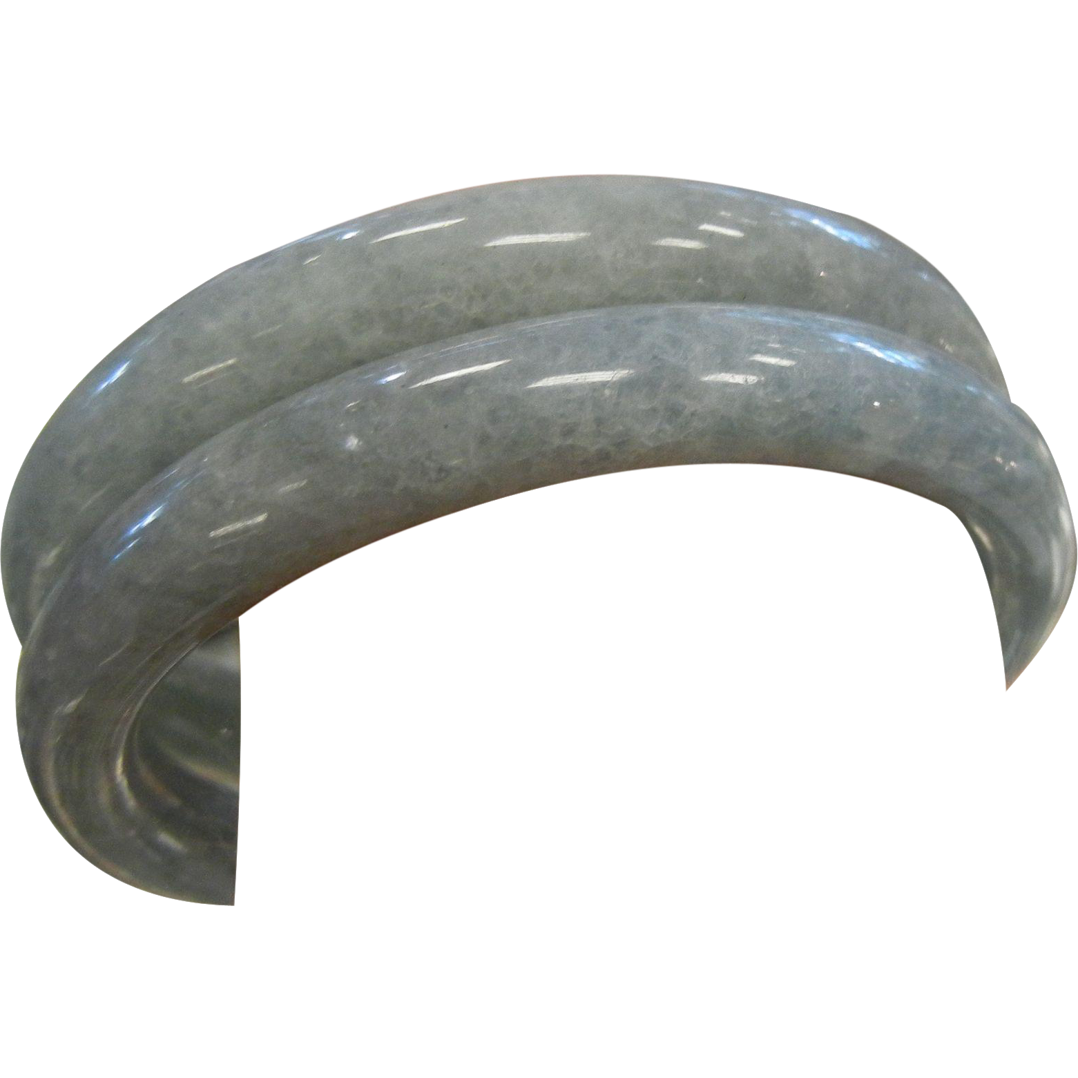 Pair of Natural Jade Bangle Bracelets