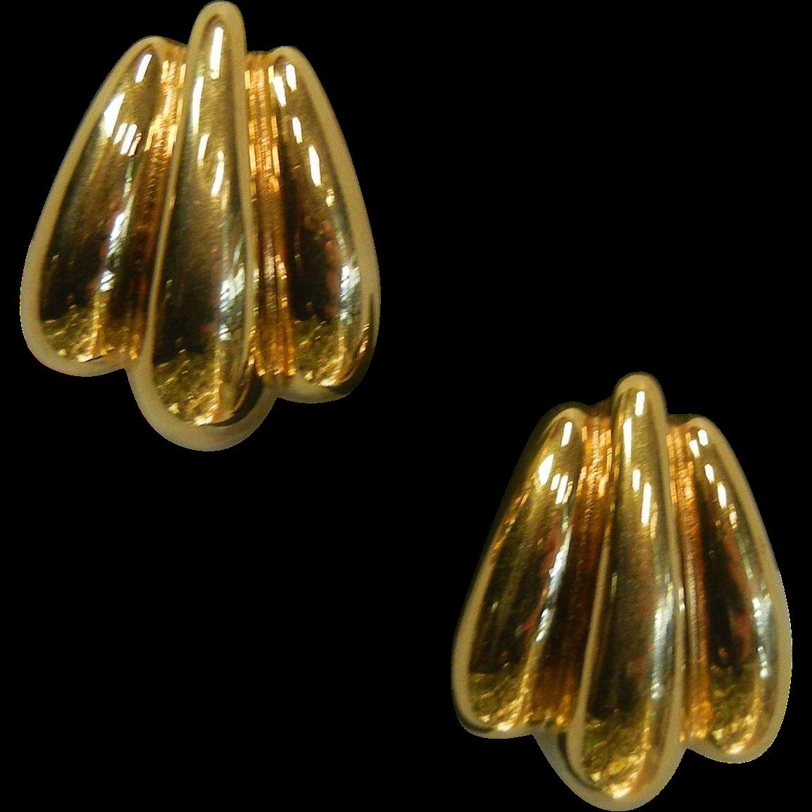 Vintage St. John Signed Gold-Tone Clip Earrings