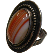 Vintage Silver Ring w/ Natural Banded Agate