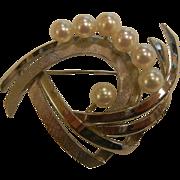 Vintage Silver Brooch w/ Pearls