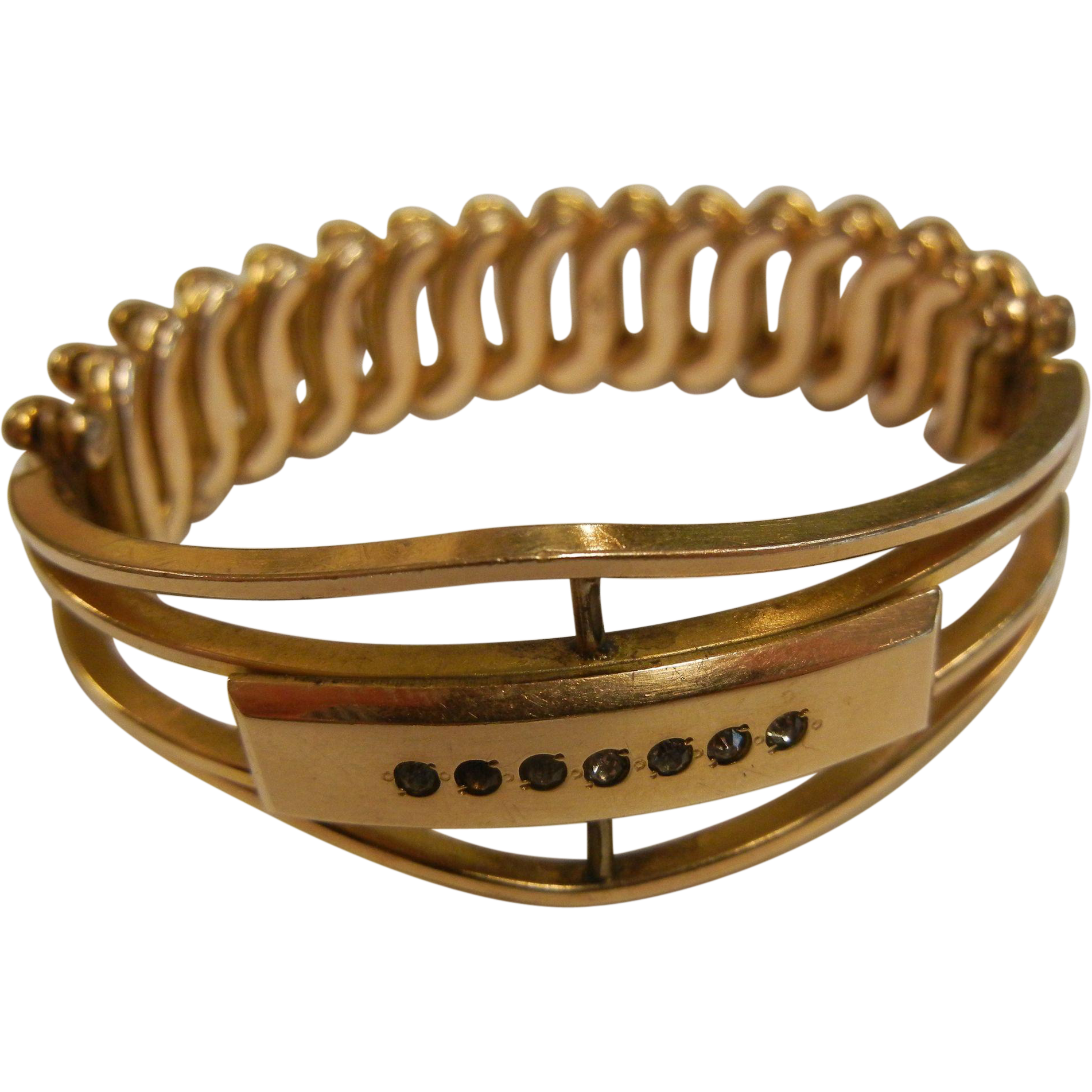 Unique Antique Victorian Gold-Filled Bracelet w/ Stretch Band