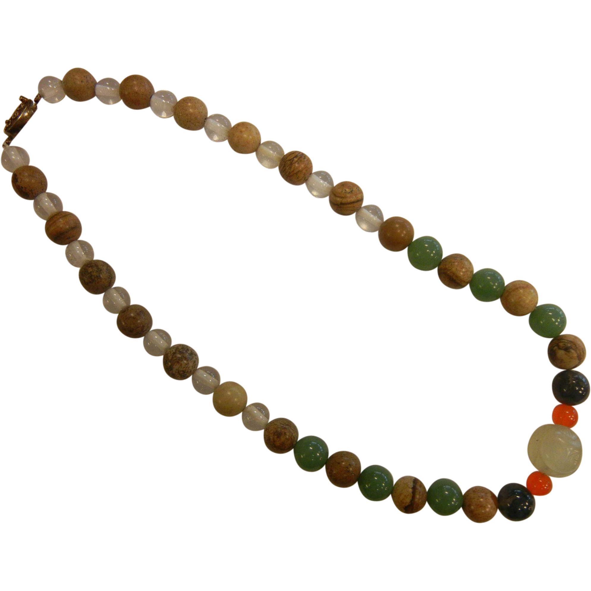 Fine Vintage Chinese Natural Stone Bead Necklace
