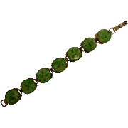 Best Ever Vintage Jade Green Molded Glass Link Bracelet
