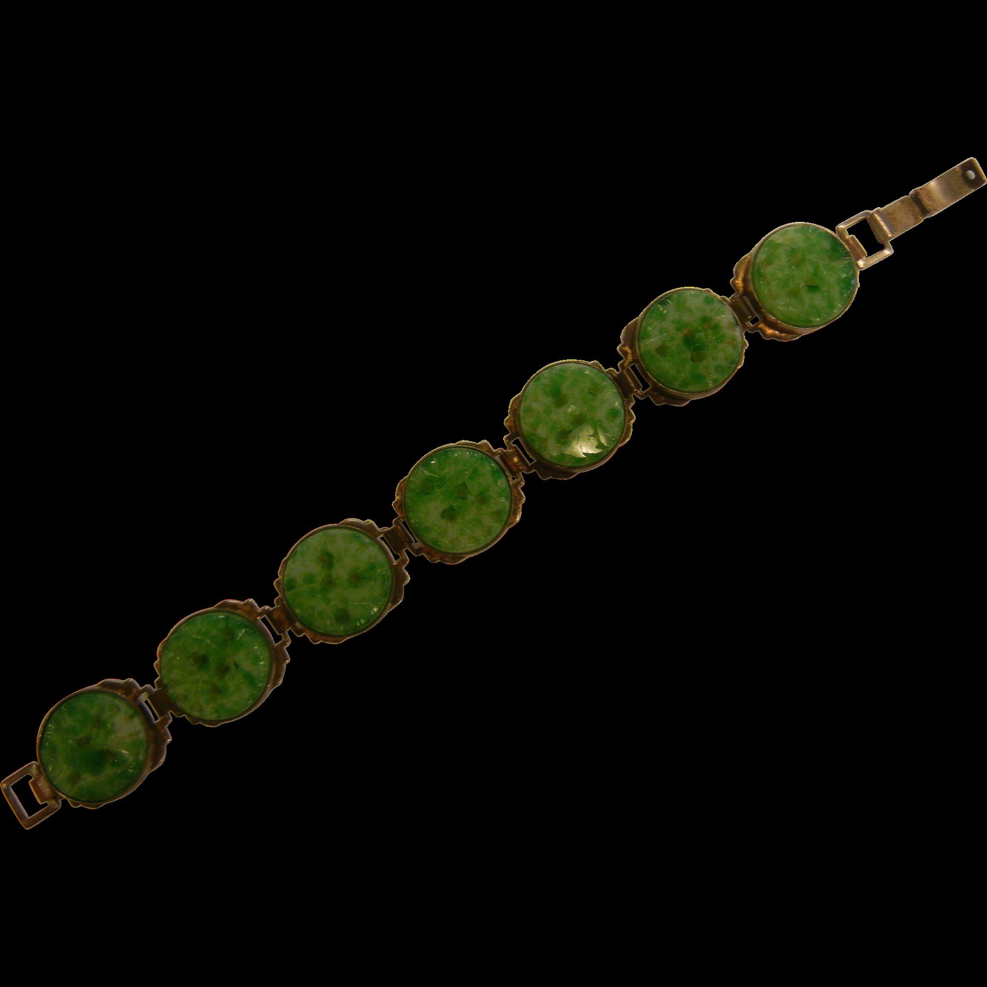 Best Ever Vintage Jade Green Molded Glass Link Bracelet