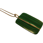 Unique Sterling Silver & Natural Malachite Pendent Necklace