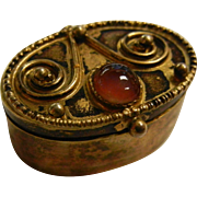 Vintage Gilded Israel 925 Box w/ Banded Agate