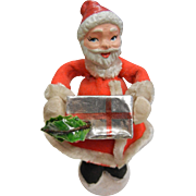 Vintage Christmas Decoration Fabric Santa w/ Gift