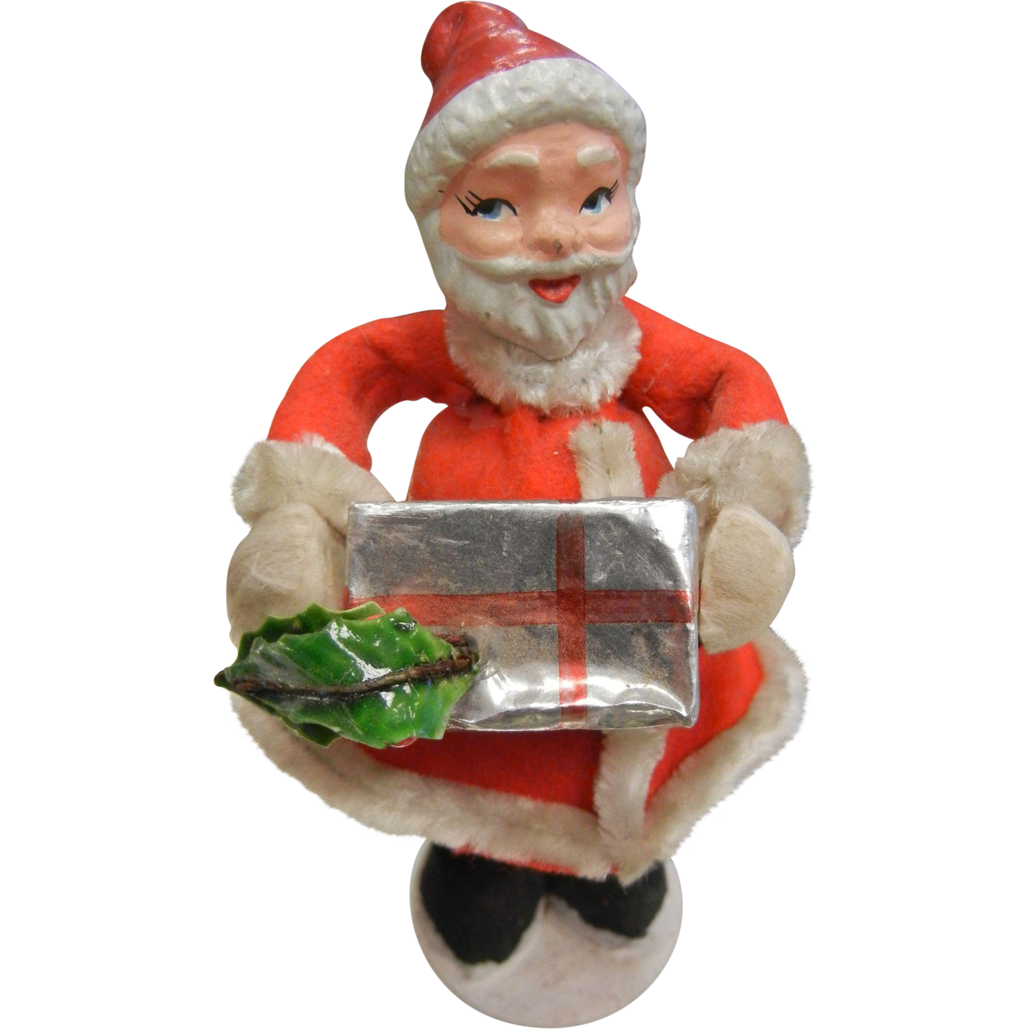 Vintage Christmas Decoration Fabric Santa w/ Gift