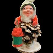 Vintage Christmas Decoration Handmade Dwarf Santa Pine Cone
