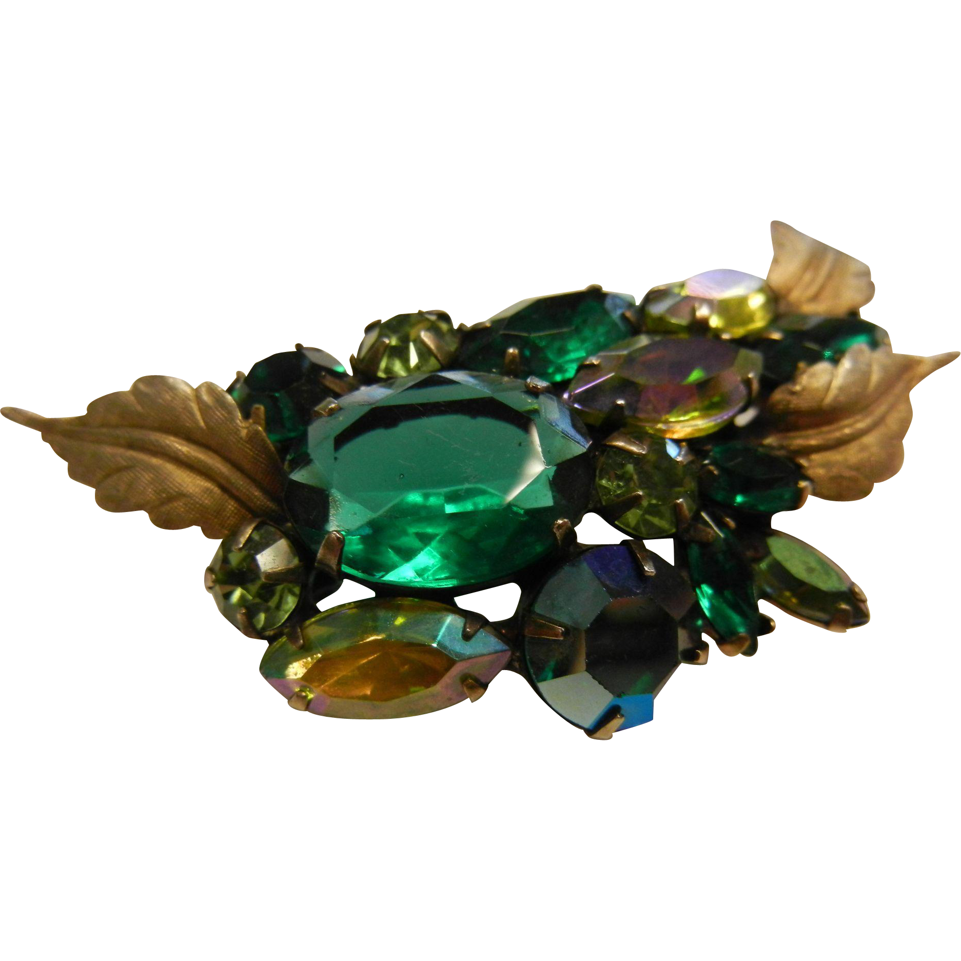 Fabulous Cluster Brooch w/ Iridescent Green Rhinestones & Gold-Tone Leaves