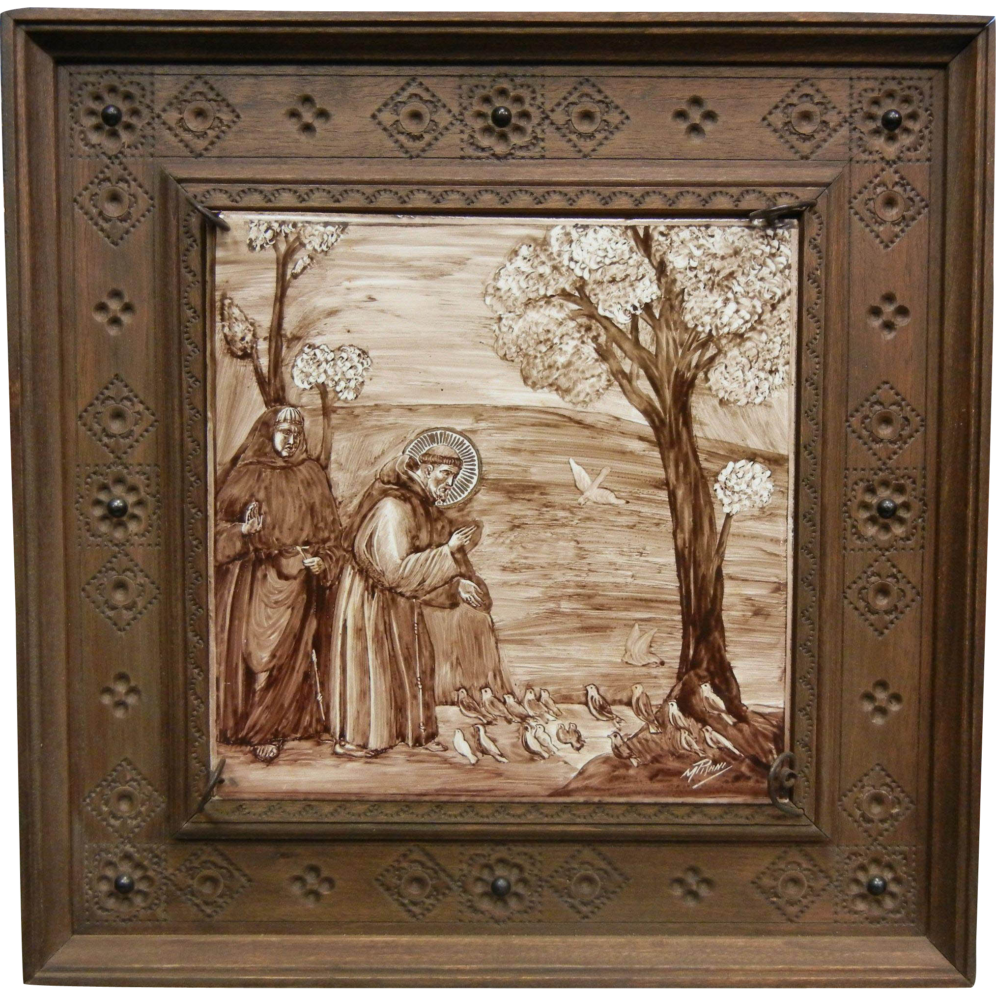 Vintage Hand Painted Ceramic Tile Of St. Francis of Assisi in Wooden Frame
