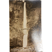 Vintage Original B&W Photo Postcard of Multnomah Falls Benson Bridge