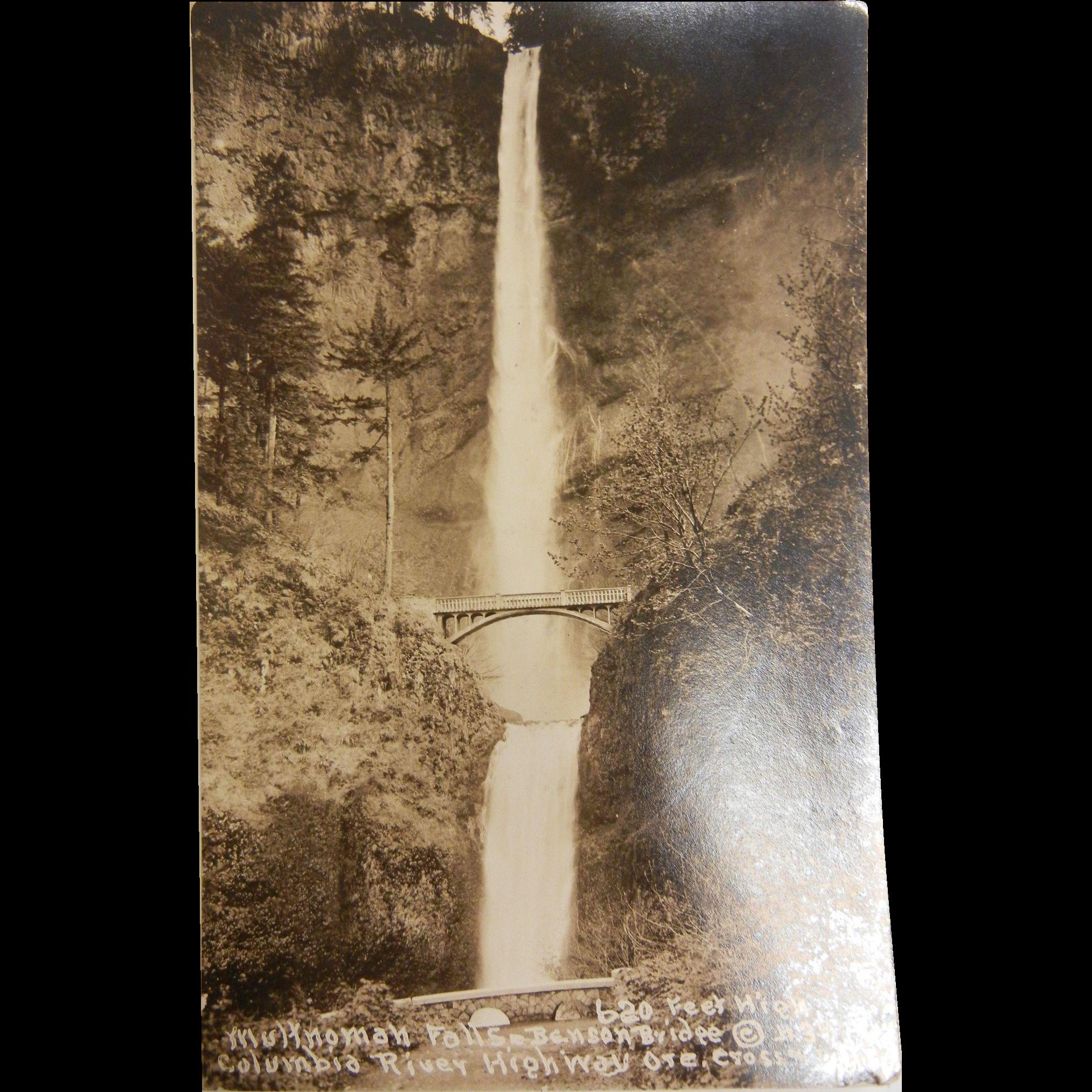 Vintage Original B&W Photo Postcard of Multnomah Falls Benson Bridge