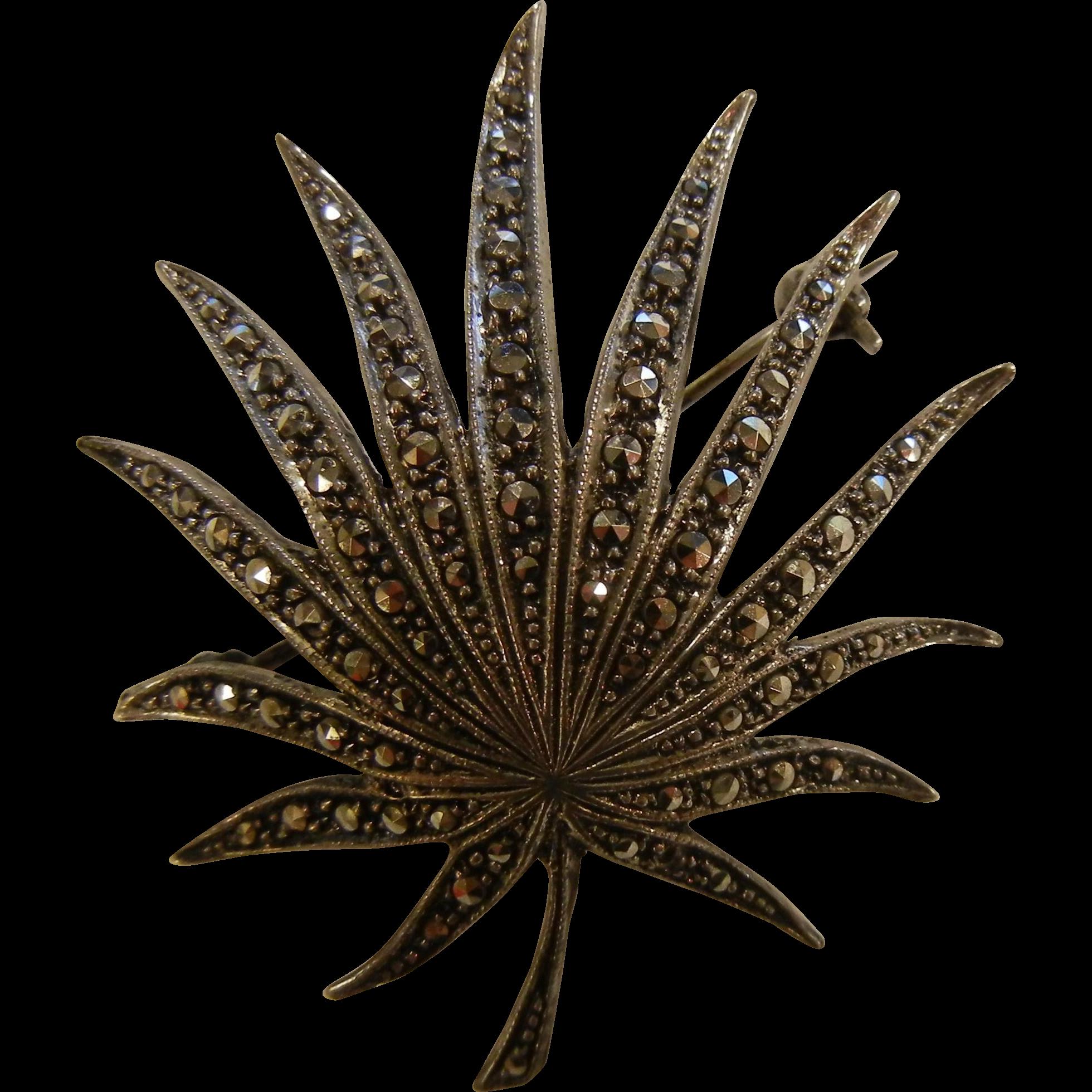 Vintage Fine Sterling Silver Dome Shape Leaf & Marcasite Brooch