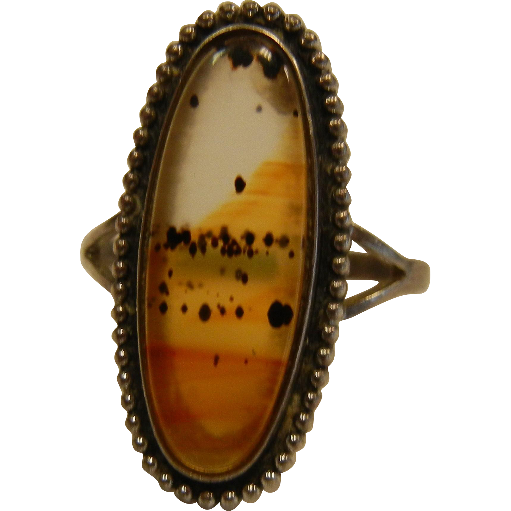 Fine Sterling Silver Ring w/ Natural Montana Moss Agate