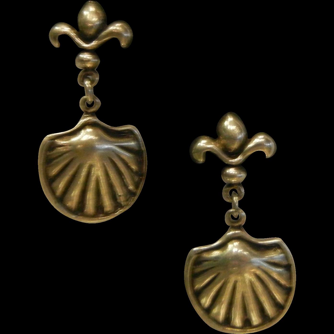 Fine Sterling Silver Shell Charm Earrings Signed JA