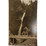 Vintage Original B&W Photo Postcard of Horsetail Falls in Oregon