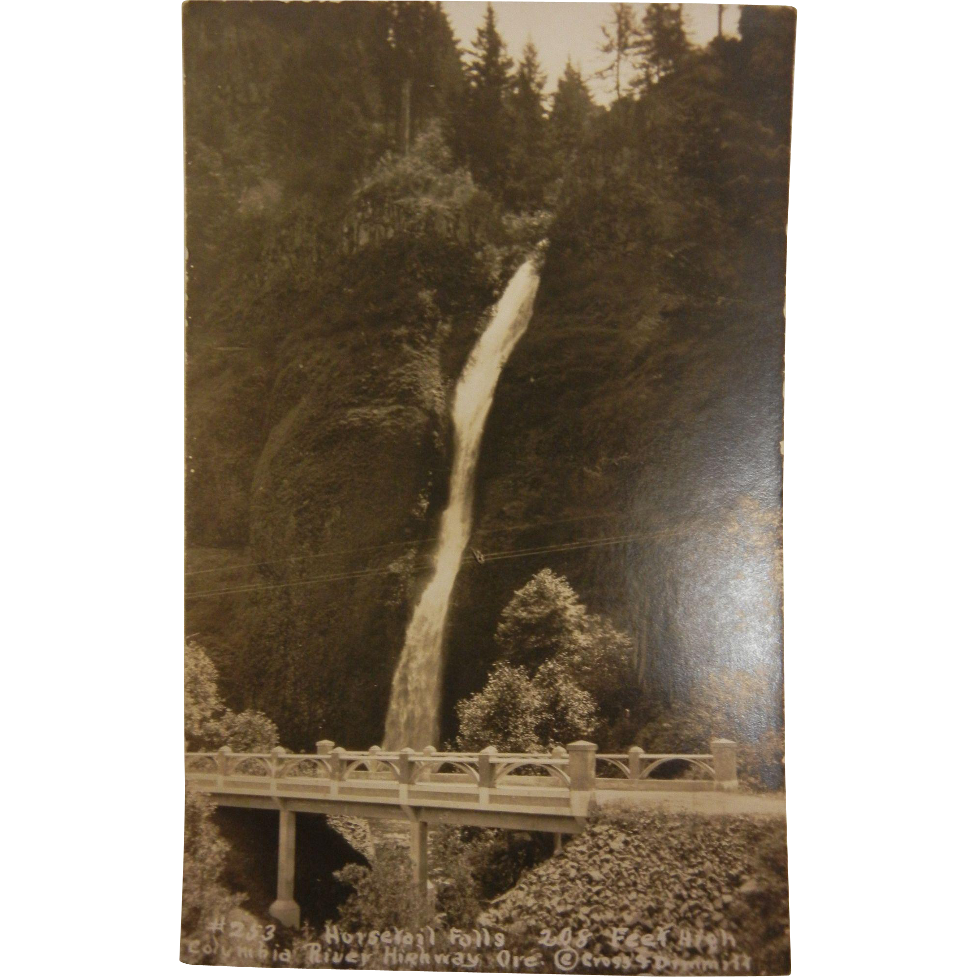 Vintage Original B&W Photo Postcard of Horsetail Falls in Oregon