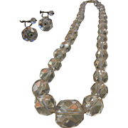 Vintage Graduated Faceted Crystal Bead Choker Necklace w/ Screw Back Earrings