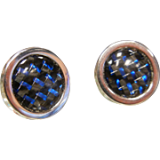 Vintage Silver-Tone Cuff Links w/ Black & Blue Accents