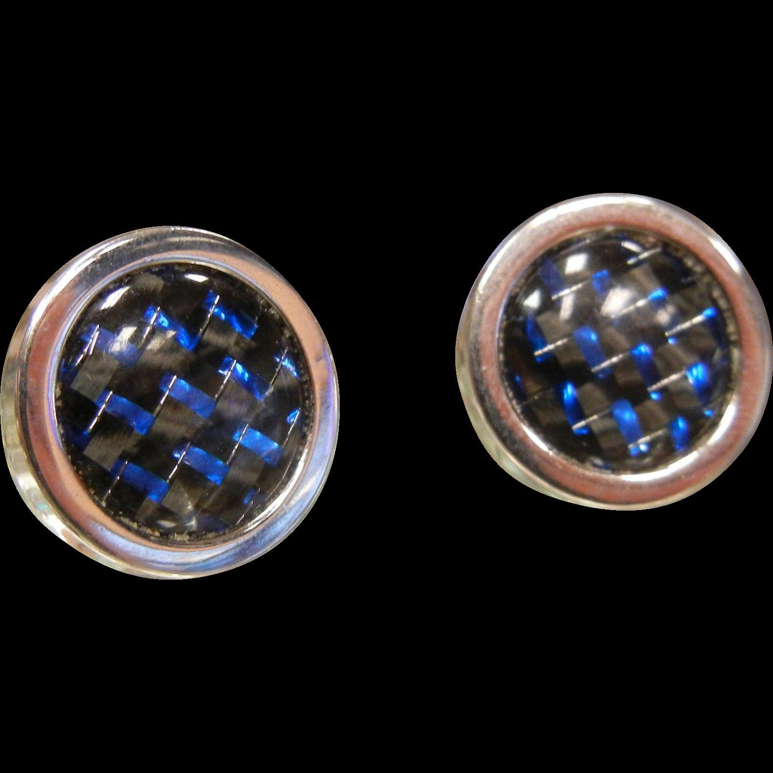 Vintage Silver-Tone Cuff Links w/ Black & Blue Accents