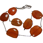 Fine Sterling Silver Necklace w/ Faceted Natural Carnelian Stones