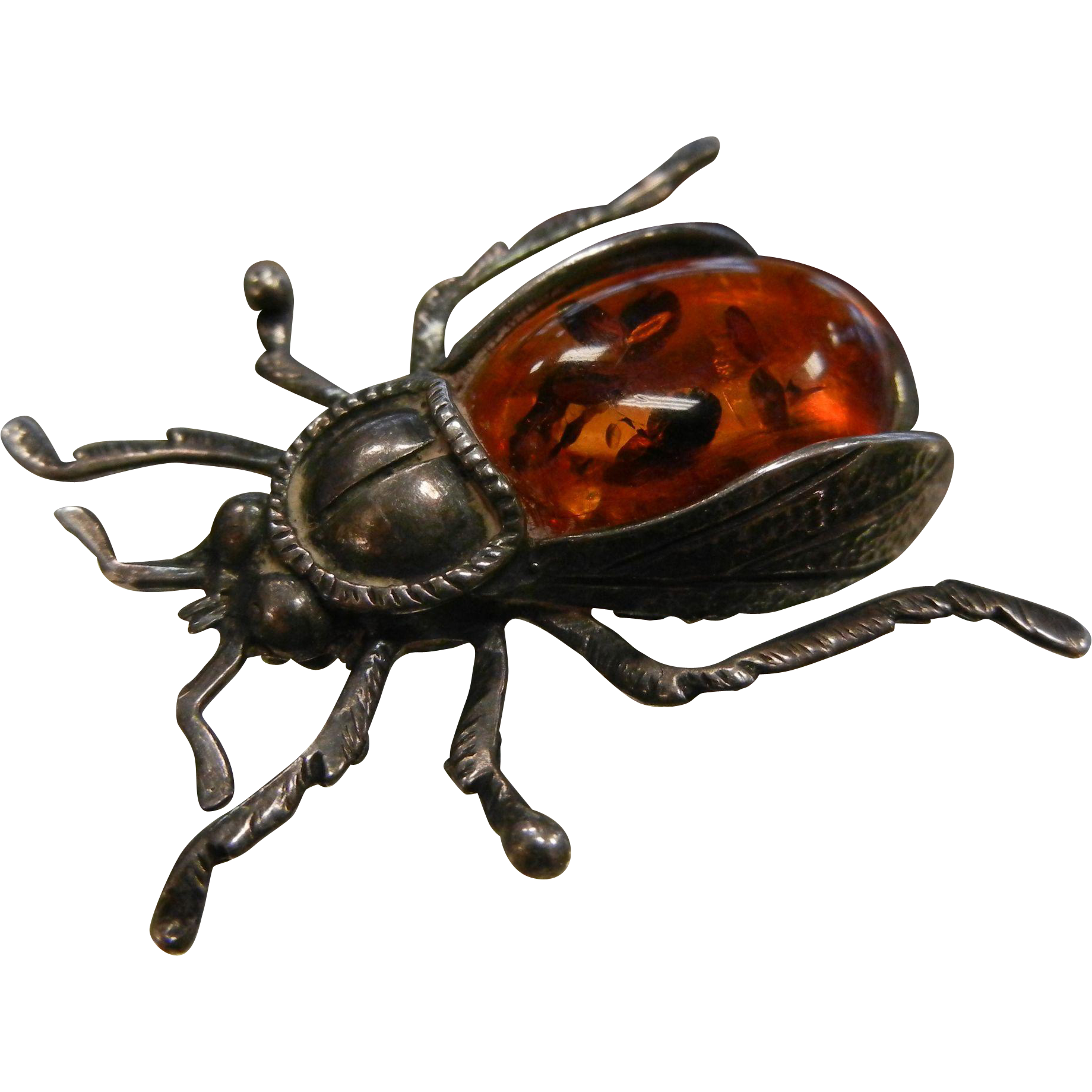 Vintage Sterling Silver & Natural Amber Beetle Brooch