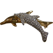 Vintage Swarovski Signed Brooch w/ Dolphins