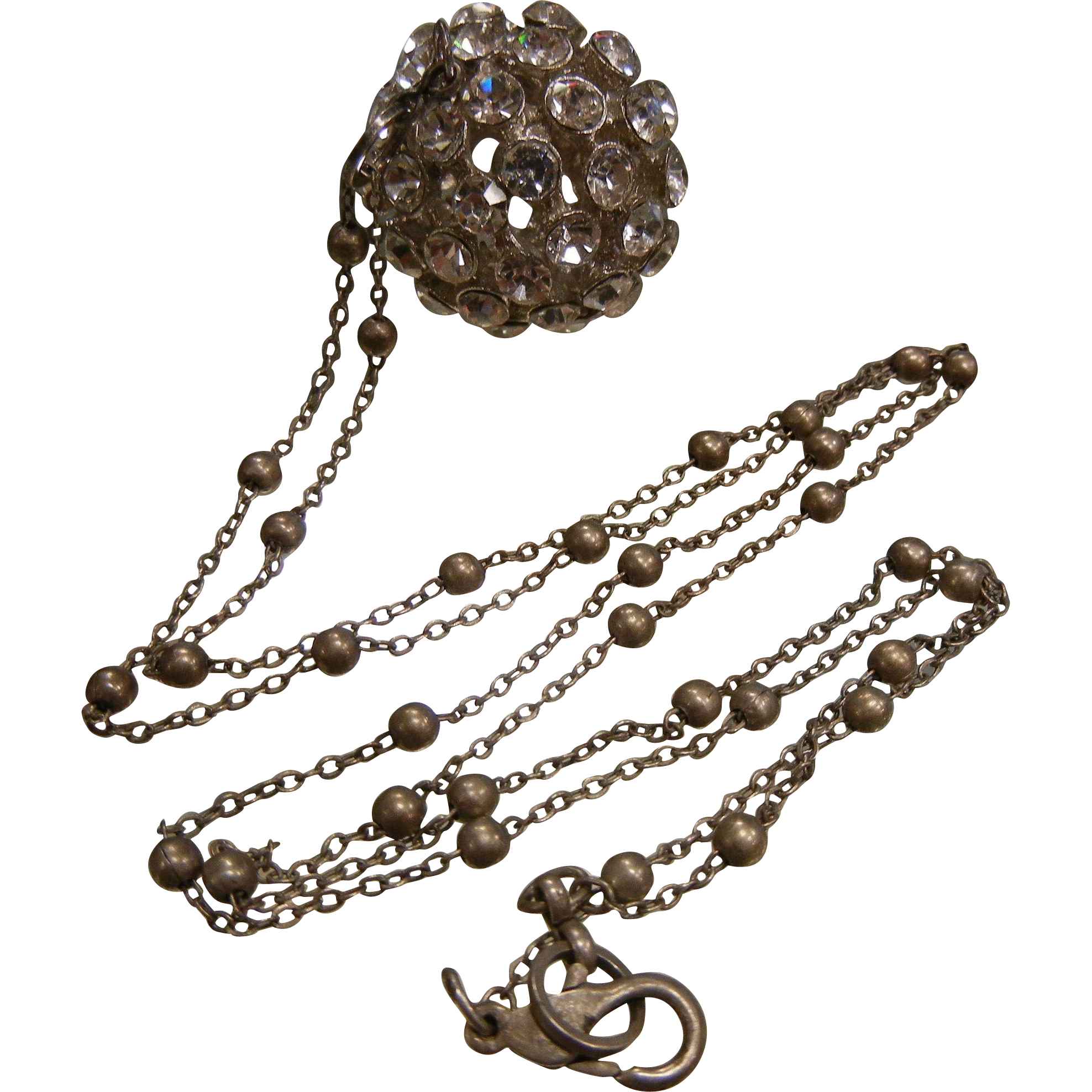 Awesome Rhinestone Adorned Ball Pendent on Long Silver-Tone Chain