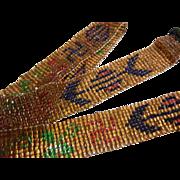 Antique Native American Glass Beaded Belt w/ Rolling Log Design