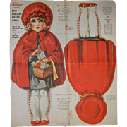 Rare Vintage Advertising 1928 Kellogg's Nursery Rhyme Dolls Fabric Little Red Riding Hood