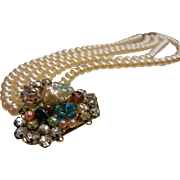 Vintage Layered Faux-Pearl Bead Bracelet w/ Jeweled Clasp