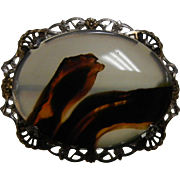 Sterling Silver Brooch w/ Natural Agate Stone